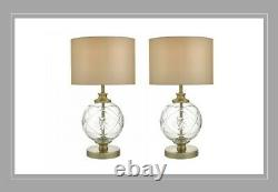 Modern pair of table lamp set with glass base & drum taupe shade 40% off RRP