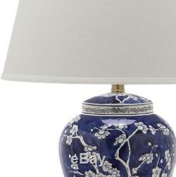 Multi Floral Table Lamp Shade 29 In. Ceramic Base Classic Style Blue (2-Set)