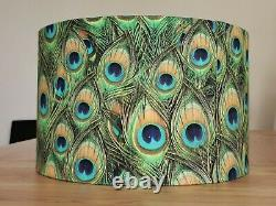 NEW HANDMADE LAMPSHADE exotic feather peacock design LAMP PENDANT NEW LARGE