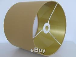 NEW Handmade Antique Gold Brushed Vinyl Lined Fabric Drum Lampshade Lightshade