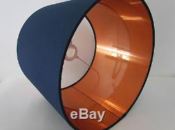 NEW Handmade Brushed Copper Lined Navy Blue Fabric Drum Lampshade Lightshade