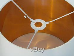 NEW Handmade Brushed Copper Lined Off White Fabric Drum Lampshade Lightshade