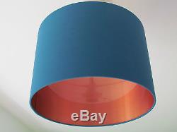 NEW Handmade Brushed Copper Lined Teal Fabric Drum Lampshade Lightshade