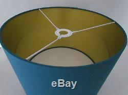 NEW Handmade Brushed Gold Lined Teal Fabric Drum Lampshade Lightshade Modern
