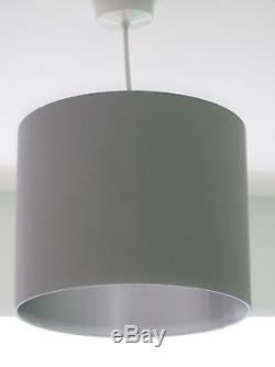 NEW Handmade Brushed Silver Lined Fabric Drum Lampshade Lightshade Statement