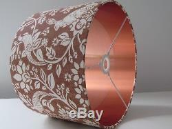 NEW Handmade Copper Hare Pheasant Drum Lampshade Lightshade Brushed Copper