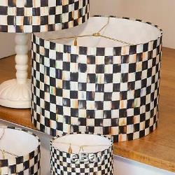 NEW MACKENZIE CHILDS SHADE LAMP Courtly Check Drum 15 dia, 11 tall