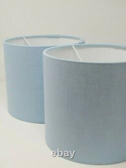 NEW Pale BLue Textured 100% Linen Drum Lampshade Light Shade