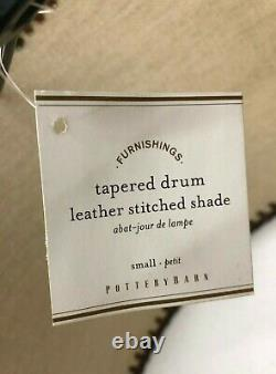 NEW Pottery Barn Leather Stitched Tapered Drum SMALL Lamp Shade, 2-Available