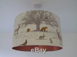 NEW Woodland Country Stag Fox Brushed Copper Lining Drum Lampshade Lightshade