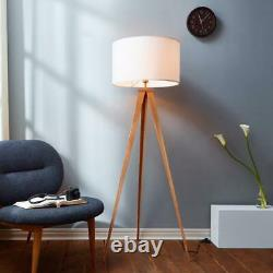 Natural Wood Tripod Floor Lamp with White Cylinder Drum Shade, Foot Step Switch