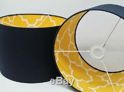 Navy Blue Mustard Yellow Geometric Quatrefoil Morrocan Tile Statement Lampshade