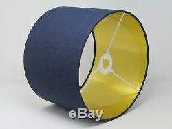 Navy Blue Textured 100% Linen Drum Lampshade with Brushed Gold Metallic lining