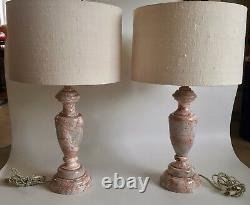 Neoclassical Cream Pink Marble Lamps with Shades Kelly Wearstler, a Pair