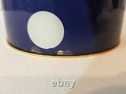 New KATE SPADE White Polka Dot Navy Blue TABLE LAMP Tall Cylinder Glass withShade