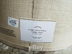 New PAIR Pottery Barn Straight Sided Drum Burlap Shades Extra Large Bleached