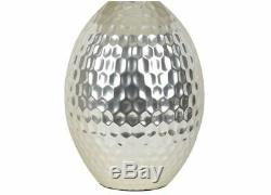 New Textured Ceramic Table Lamp Painted Silver Base W White Shade Free Shipping