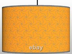 Ochre mustard and grey floor or ceiling lampshade printed fabric drum lampshade