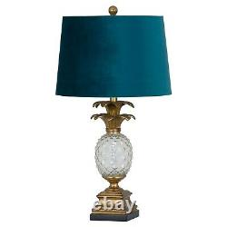 Ornate vintage style PINEAPPLE TABLE LAMP with Teal Blue velvet shade Gold tone