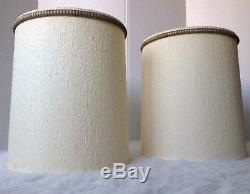 Pair 2 Signed Vintage Mid Century Modern Stiffel Ivory Fabric Lamp Drum Shades