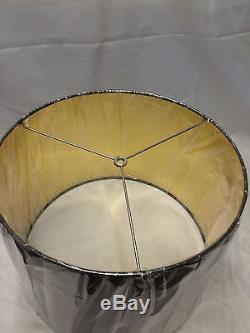 Pair Contemporary Drum Shape Lamp Shade 16 w x 11 ht Black and Gold