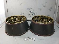 Pair Gold Lined Lamp Shades Black Metallic Marbled 10 Vintage MCM Bouillotte