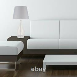 Pair Large Modern 56cm Table Lamp Bedside Light Clear Glass Grey Fabric Shade
