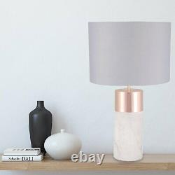 Pair Marble 45cm Table Lamp Bedside Light with Copper Detail Grey Fabric Shade