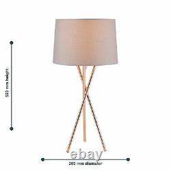 Pair Modern Copper Tripod Table Lamp Bedside Light with Grey Fabric Shade