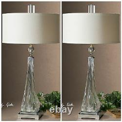 Pair Modern Grancona 32 Thick Twisted Glass Nickel Metal Table Lamps Uttermost