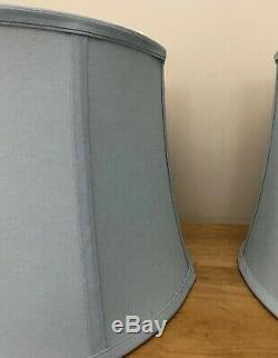 Pair Vintage Drum Lamp Shades Light Gray Blue Fabric lamp Shade