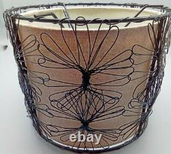 Pair Vintage Mid-Century Modern 2 Tier Lamp Shades Beige Inside, Black Wire Out