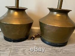 Pair of 2 Vintage Brass Drum Metal Buffet Table Lamps NO SHADES Gold Round
