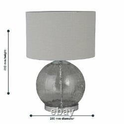 Pair of Contemporary Crackle Glass 41cm Table Lamp Bedside Grey Linen Shades