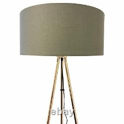 Pair of Copper Tripod Floor Lamps Standard Lights Large Grey Fabric Light Shades