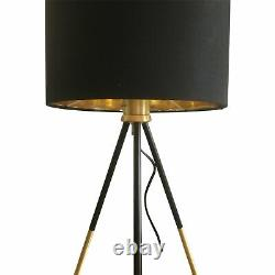 Pair of Large Black & Satin Brass Tripod Table Lamps Bedside Lights with Shades
