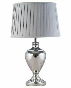 Pair of Large Contemporary 58cm Table Lamps Polished Chrome Grey Pleated Shades