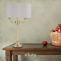 Pair of Modern Classic Antique Brass Twin Arm Table Lamp Bedside Grey Shades