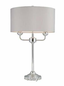 Pair of Modern Classic Polished Chrome Twin Arm Table Lamp Bedside Grey Shades