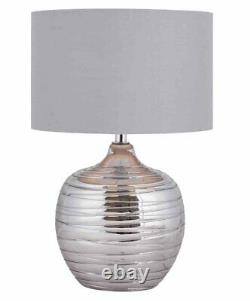 Pair of Modern Smoked Metallic Rippled Glass Table Lamps Bedside with Grey Shade
