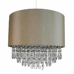 Pair of Modern Soft Gold Ceiling Light Pendant Shade Matching Inner & Droplets