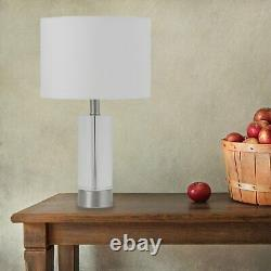 Pair of Modern Tall Crystal Table Lamp Bedside Lights Satin Chrome White Shade