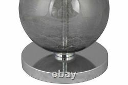 Pair of Modern Three Ball Ombre Glass 53cm Table Lamp Bedside Grey Linen Shades