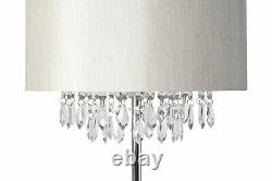 Pair of Mondern Glam Chrome Silver Grey Silk Shade Jewelled Floor Standard Lamps