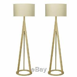 Pair of Wooden Tripod Floor Lamp Lights with Matching Natural Linen Fabric Shades