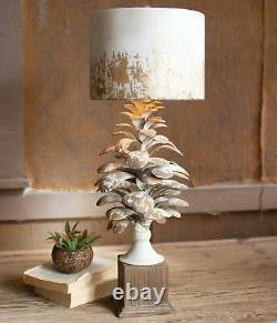 Pine Cone Accent Table Lamp Rustic Distressed Metal Drum Shade