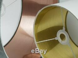 Pink Velvet Fabric Lampshade Brushed Metallic Copper Gold 7 linings