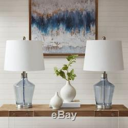 Posh Set of 2 Blue Glass Table Lamps withWhite Drum Shape Shade 24H