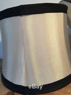 Preloved Pair Of Ivory Silk With Black Trim Lined Drum Lampshades