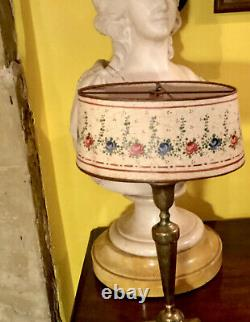Pretty Antique French Hand Painted Parchment Bouillotte Lamp Shade. Early 1900s